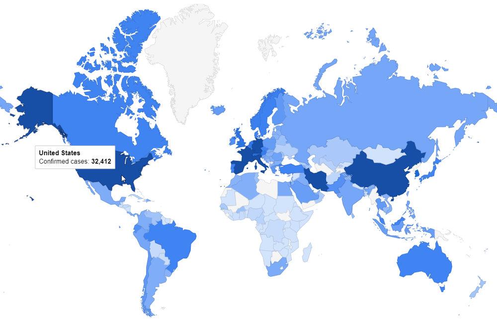 Coronavirus mapa oficial Google