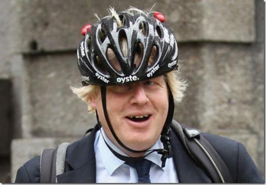 Boris Johnson - crooked cycle helmet