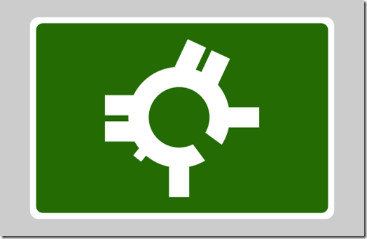 Roundabout sign with dual carriageways