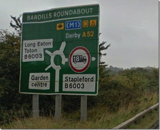 Bardill's Roundabout sign
