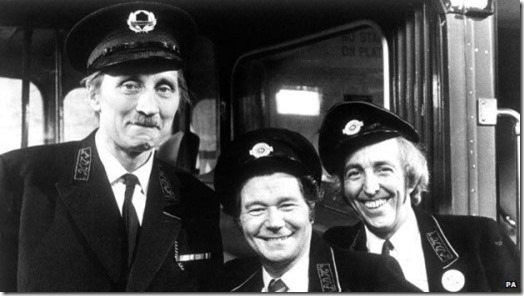 Stephen Lewis (left) with Reg Varney and Bob Grant