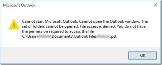 Outlook - Access Denied error