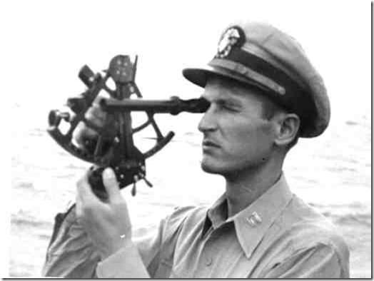Navy navigator with sextant