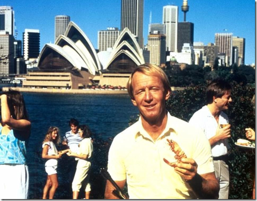 Paul Hogan barbecuing shrimp