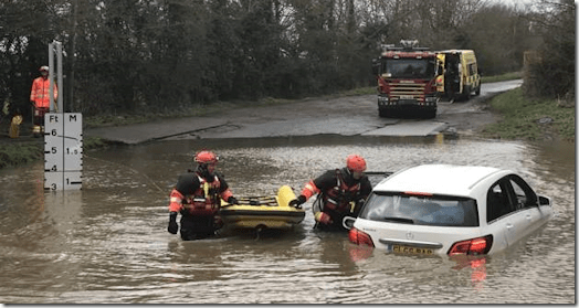 Mercedes stuck in Watery Gate ford in Thurlaston