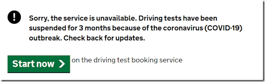 First message on GOV.UK test booking
