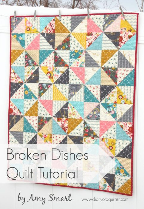 Half Square Triangle Quilt instructions and pattern featured by top US quilting blog, Diary of a Quilter: image of Broken Dishes simple baby quilt tutorial