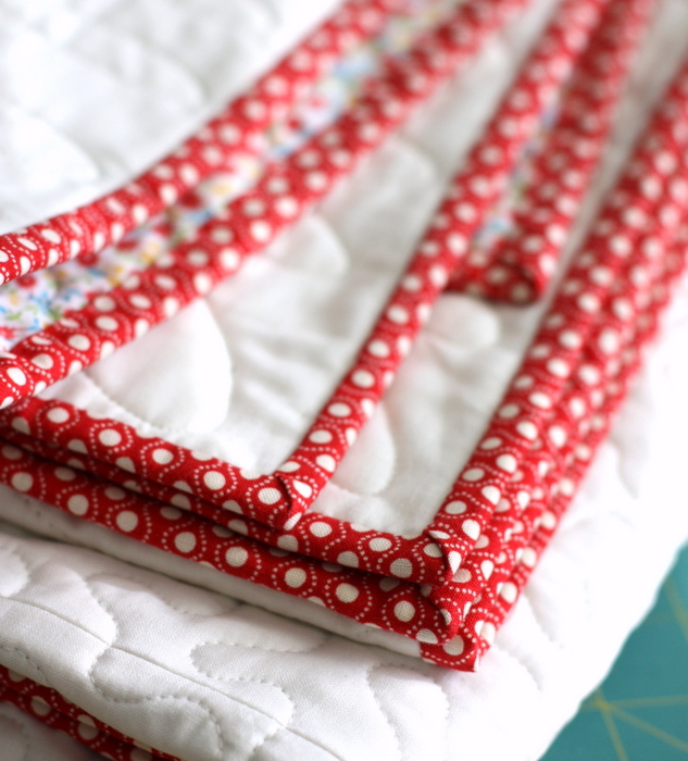 red retro quilt binding