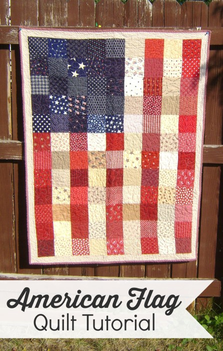 Pixelated Flag free patchwork quilt pattern