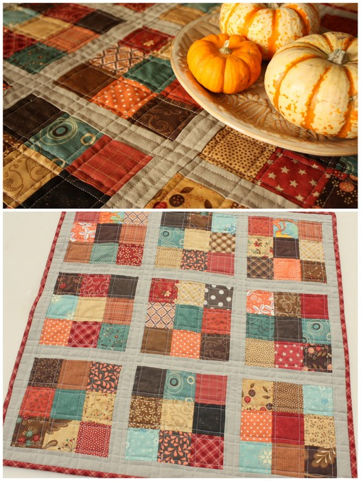 Kết quả hình ảnh cho halloween Another example would be a quick mini quilt. This one is made with the 2 1/2″ charm squares (Quilter's Candy by Moda)