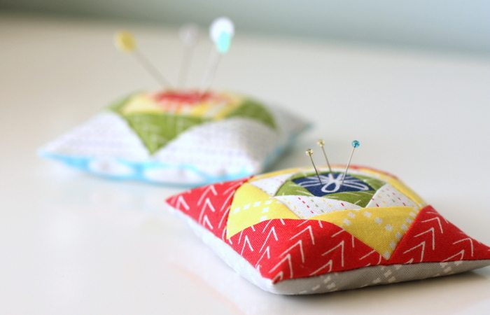 paper-pieced pin cushion