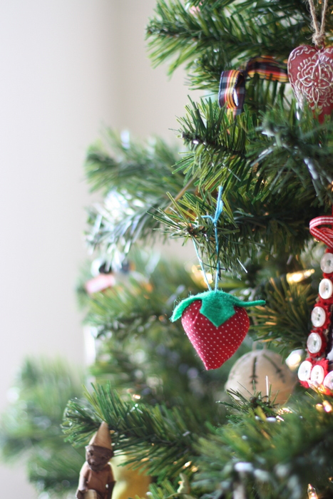 handmade strawberry christmas ornament