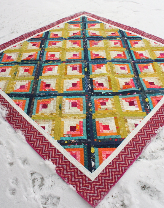 Log cabin quilt on point - pattern by Amy Smart