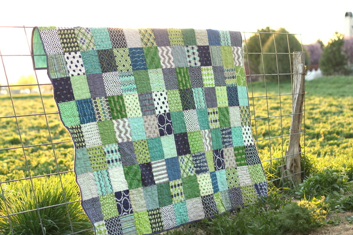 Blue and Green patchwork quilt