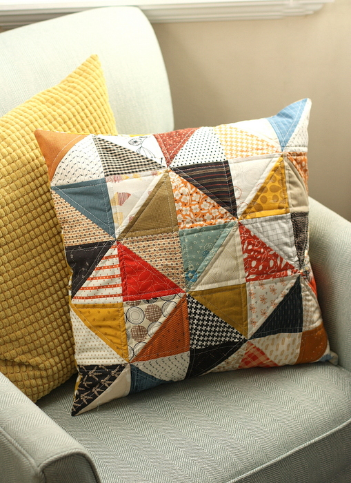 Half Square Triangle Patchwork Pillow tutorial for fall