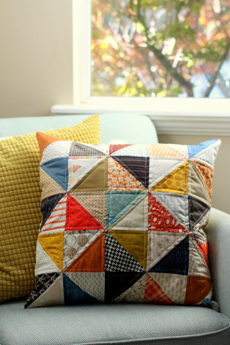 Fall colors Half Square Triangle Pillow tutorial