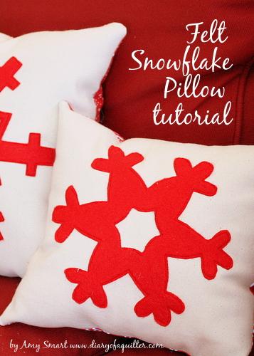 Felt applique Snowflake Christmas Pillow Tutorial by Amy Smart