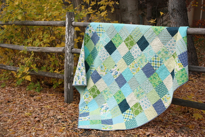aqua-and-green-patchwork-quilt