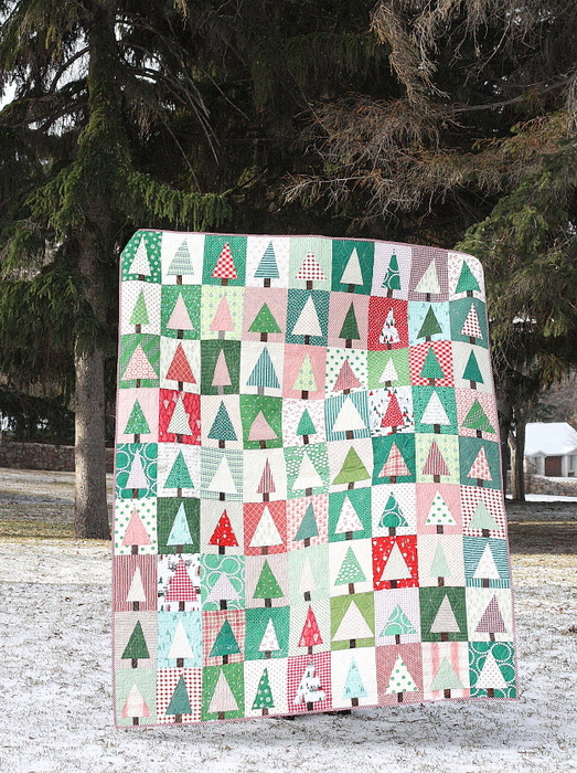 Modern Christmas Tree Quilt Block Pattern and Tutorial featured by top US quilting blog, Diary of a Quilter