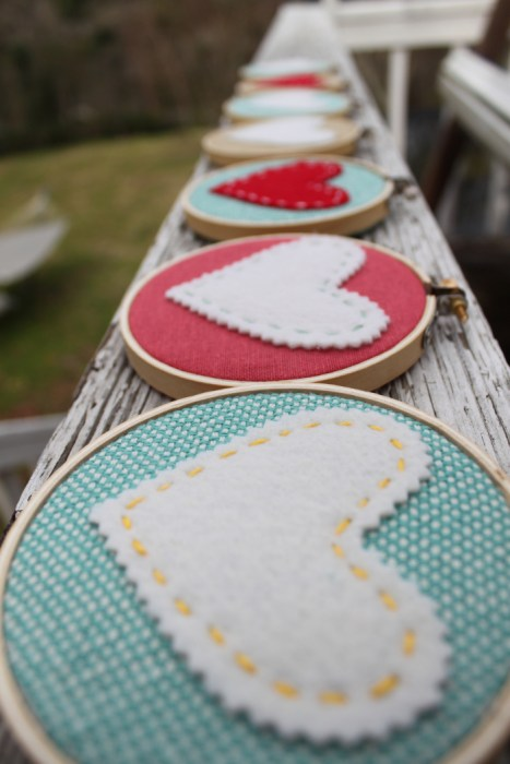 Hearts hoop art