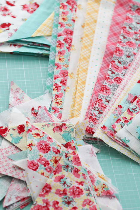 Patchwork pieces for new Double Crossed quilt by Diary of a Quilter