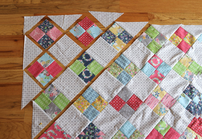 On point quilt layout - Farmhouse Four Patch tutorial by Amy Smart