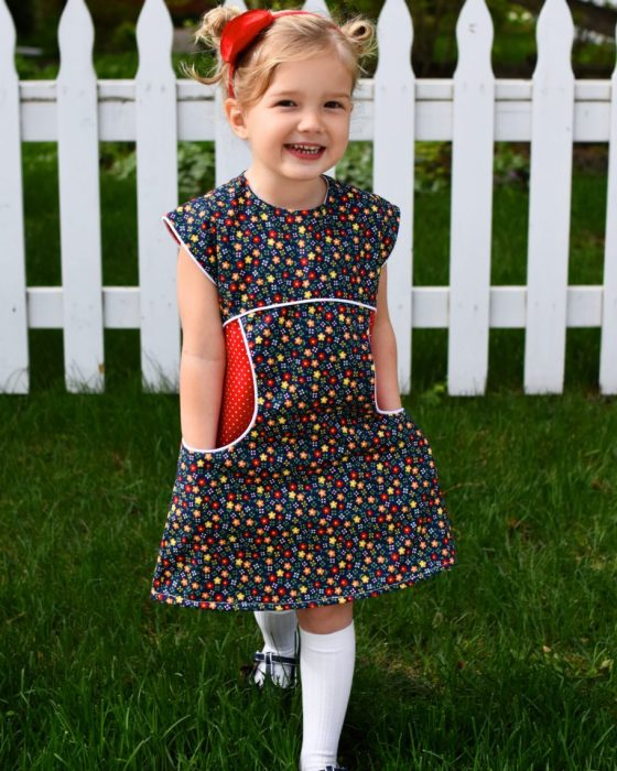 Miss Polly Dress by Sew Pony in Gingham Girls Calico print