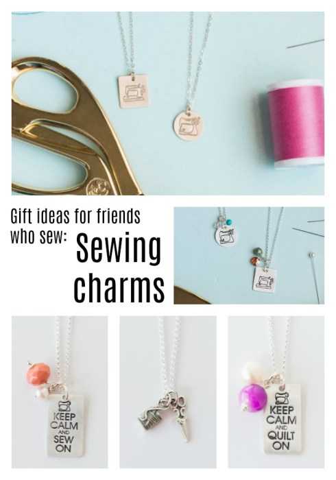 Gift ideas for friends who sew: Sewing charms necklaces