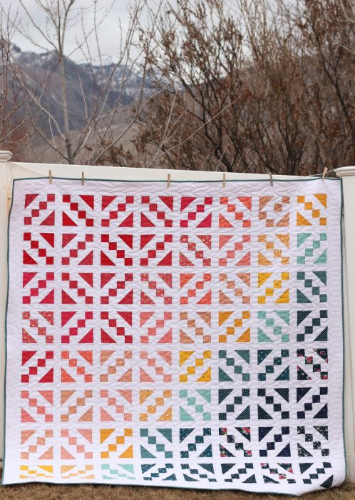 Spectrum quilt featuring Riley Blake Designs fabric made by Amy Smart - Diary of a Quilter