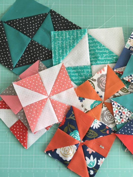 Heart and Soul half square triangle quilt blocks