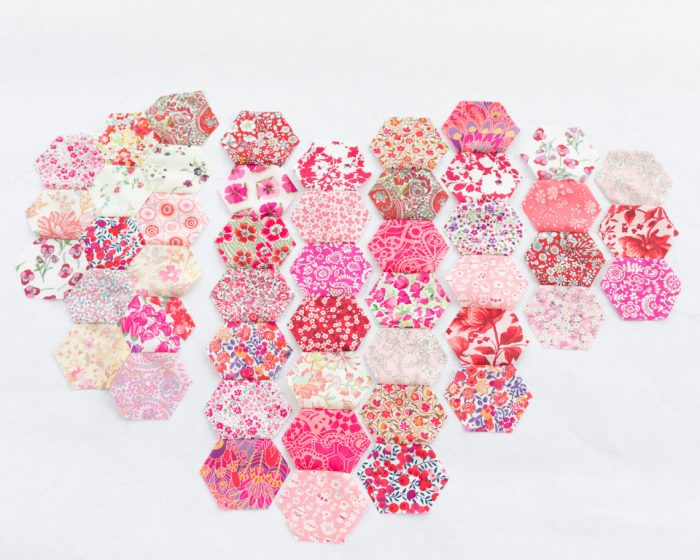 Liberty Lawns pink hexagons