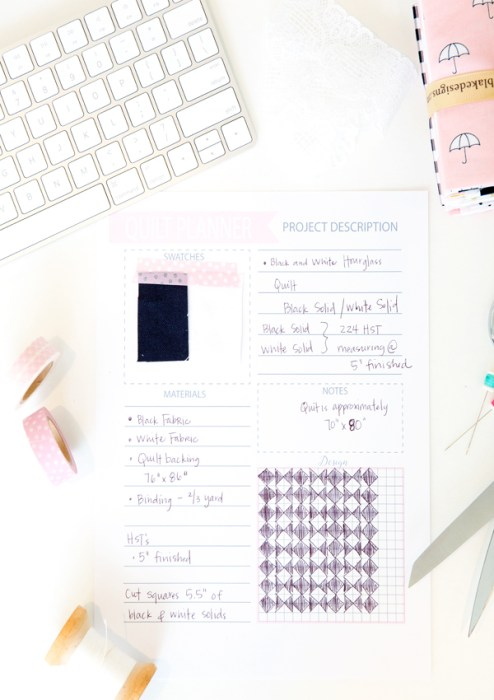 Free printable Quilt Project planner pages
