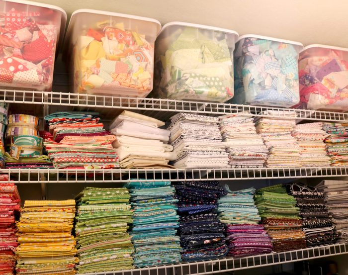 Top 10 Sewing Room Organization Tips  featured by top US sewing blog, Diary of a Quilter: Tips for Fabric organization and storage