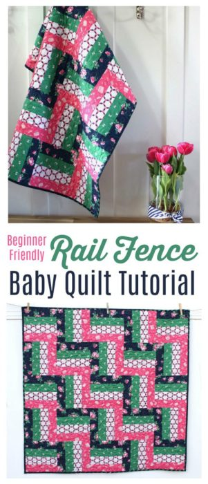 Beginner Friendly Rail Fence Baby Quilt tutorial by Amy Smart
