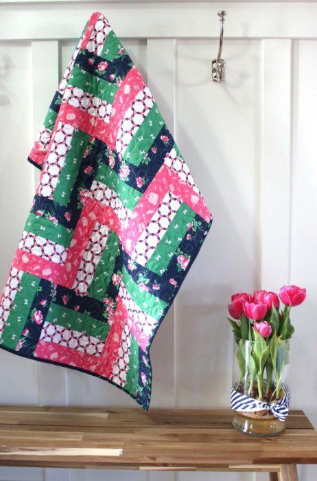 Beginner friendly Strip-pieced baby quilt