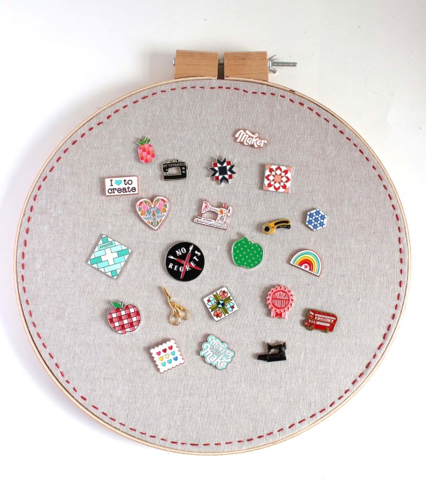 Diary of a Quilter Enamel Pin collection + Hoop display tutorial