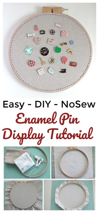 Easy DIY No Sew Enamel Pin Display Tutorial by Amy Smart