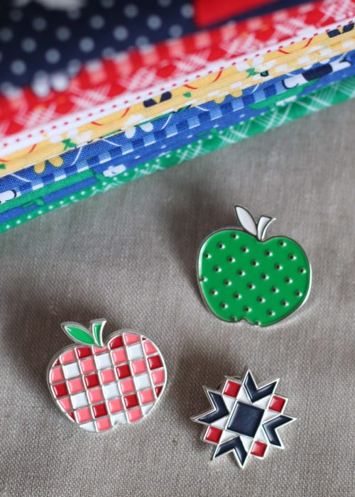 Apple and quilt enamel pins by Diary of a Quilter and Maker Valley