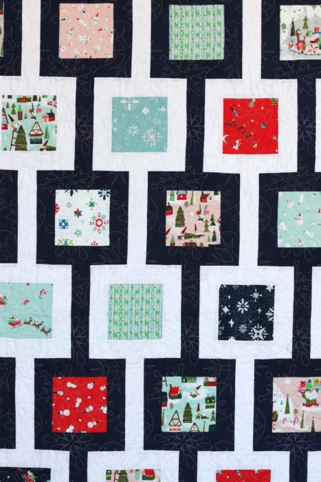 Chain Link Quilt Pattern by Amy Smart featuring Riley Blake Christmas Fabric