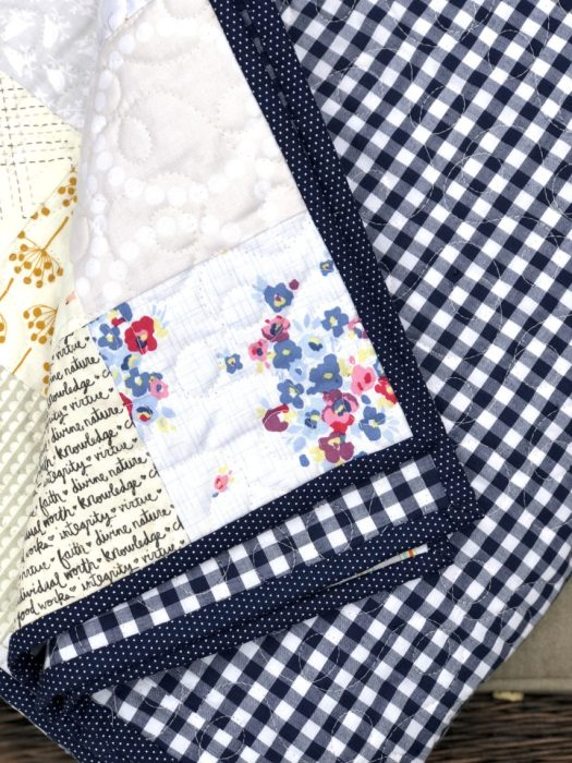 Navy Gingham Quilt Back