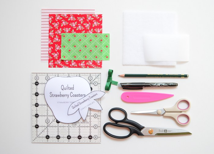 Quilted Strawberry Coasters supplies