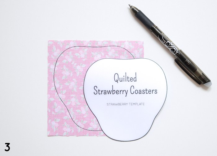 Quilted Strawberry Coaster Template