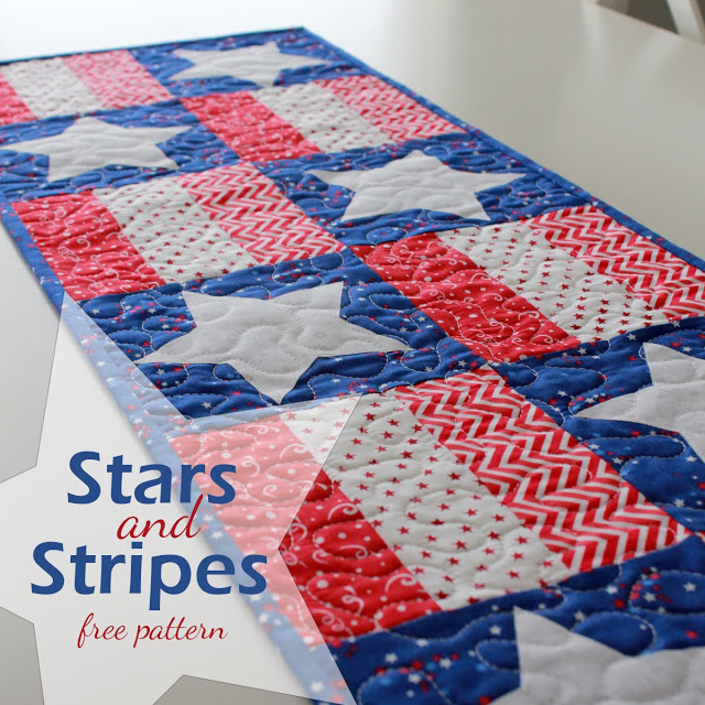 Stars and Stripes 4th of July Table Runner free pattern