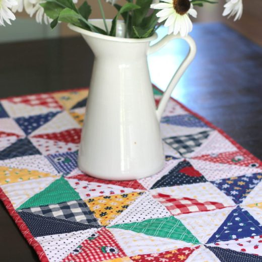 Half Square Triangle Table Runner featuring Sunnyside Ave fabrics
