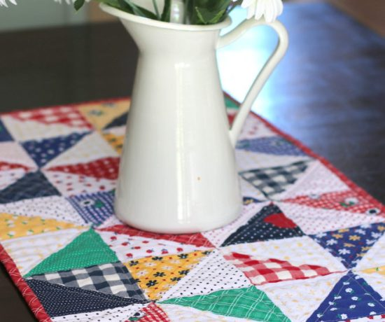 Half Square Triangle Table Runner featuring Sunnyside Ave fabrics