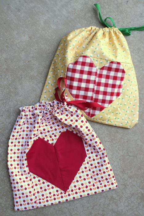 Heart Drawstring Bag Tutorial - Lined and beginner friendsly