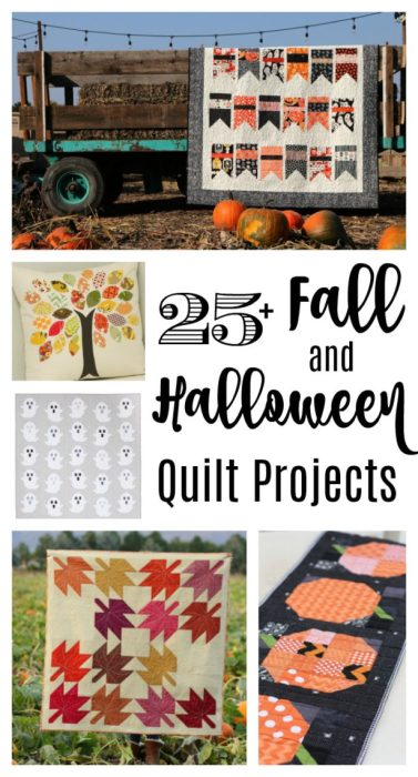Fall and Halloween quilt ideas | Classic Maple Leaf Quilt Block Tutorial by popular Utah quilting blog, Diary of a Quilter: collage image of various fall and halloween quilt projects.