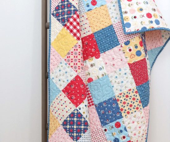 Patchwork On Point Quilt Tutorial featured by top US quilting blog, Diary of a Quilter