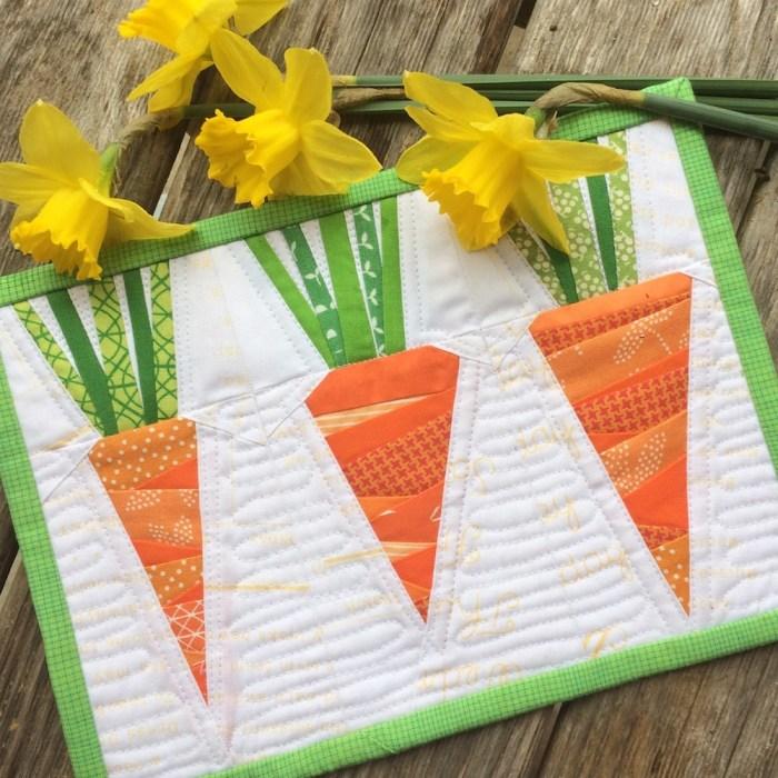 Spring Carrot Foundation paper-piecing tutorial by Leila Gardunia