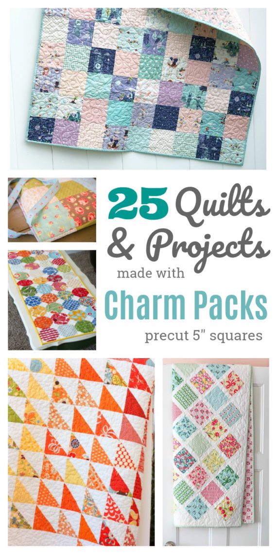 "25 patterns made with Charm Packs - precut 5"" squares"